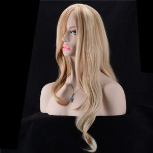 Ultra Long Oblique Parting Shaggy Wavy Color Mix Synthetic Wig -