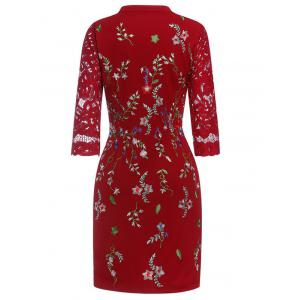 Keyhole Floral Embroidered Fitted Dress -