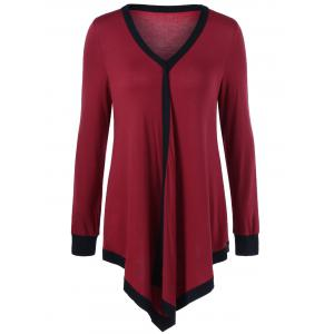 Plus Size Contrast Trim Asymmetrical Tee - Red With Black - 3xl