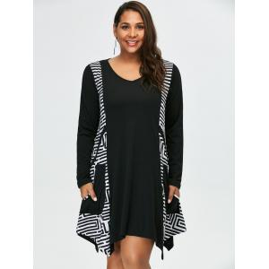 Plus Size Long Sleeve Asymmetrical Casual Dress with Pockets - WHITE/BLACK 2XL
