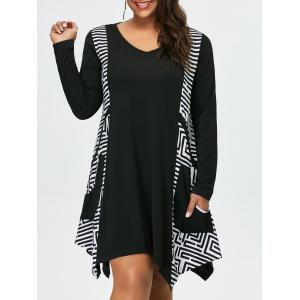 Plus Size Long Sleeve Asymmetrical Casual Dress with Pockets - White And Black - Xl