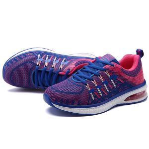Lace Up Color Block Breathable Athletic Shoes - ROSE RED 40