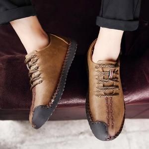 Faux Leather Stitching Lace Up Casual Shoes -