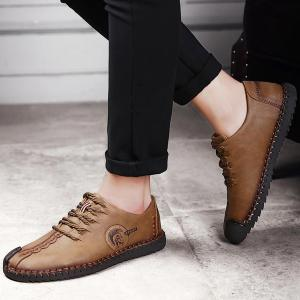 Faux Leather Stitching Lace Up Casual Shoes - BROWN 44