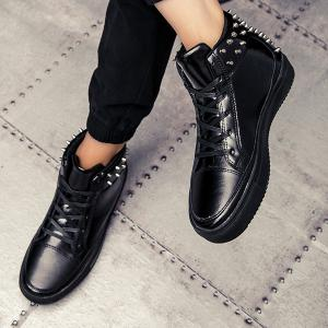 Rivets Tie Up High Top Casual Shoes -