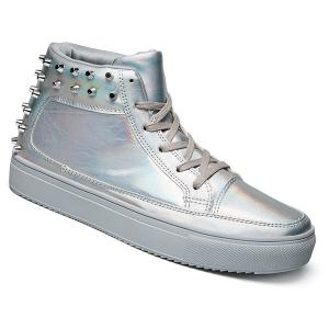 Rivets Tie Up High Top Casual Shoes - Silver - 43