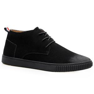 Tie Up High Top Suede Casual Shoes - Black - 43