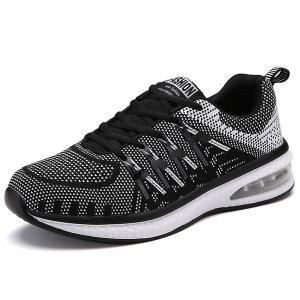 Colour Block Breathable Tie Up Athletic Shoes - White And Black - 42