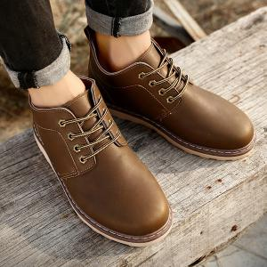 Stitching Faux Leather Tie Up Boots -