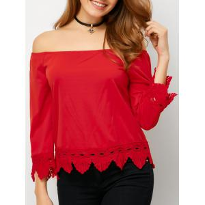 Hollow Out Off The Shoulder Scalloped Top