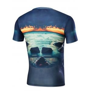 Short Sleeve Graphic and Sea Print T-Shirt - BLUE M