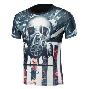 Short Sleeve 3D Skull Mask and Flowers Print T-Shirt - Black - 2xl