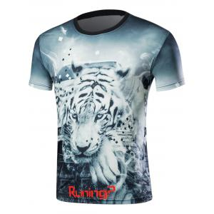 Short Sleeve 3D Tiger Print T-Shirt