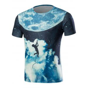 Short Sleeve 3D Galaxy Moon and Figure Print T-Shirt