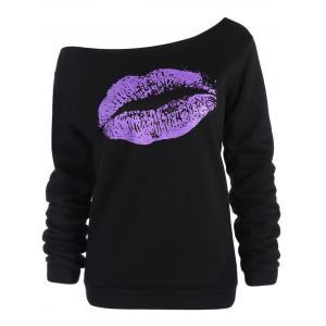 Women's Stylish Oblique Shoulder Long Sleeve Lip Print T-Shirt