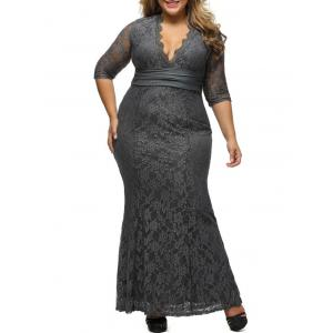Lace Plus Size Bodycon Maxi Formal Party Dress with Sleeves - Gray - Xl