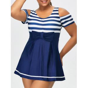 Striped Plus Size Cold Shoulder One Piece Swimwear