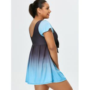 Ombre Backless Plus Size Skirted Swimsuit -