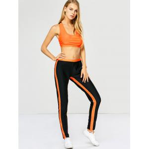 Racerback Sports Bra with Jogger Sweatpants - ORANGE RED XL