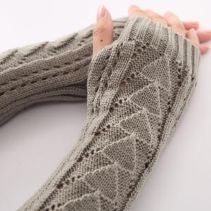 Hollow Out Triangle Crochet Knit Fingerless Arm Warmers - BLACK GREY