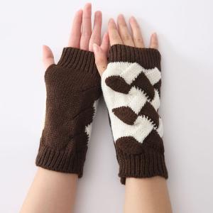 Color Block Crochet Knit Checked Triangle Fingerless Gloves - Coffee