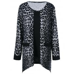 Plus Size Pockets Design Leopard T-Shirt