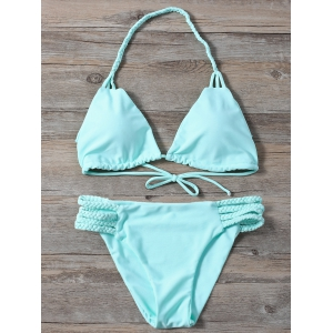 Braided Side Strap Plunge Bikini
