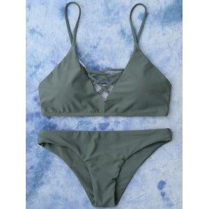Lace Up Cami Bikini Swimwear - Army Green - L