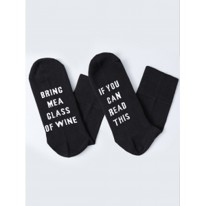 Pair of Letter Graphic Socks - Black