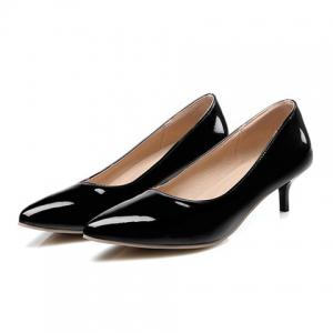 Kitten Heel Patent Leather Pumps - BLACK 38