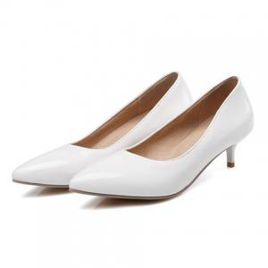 Kitten Heel Patent Leather Pumps - WHITE 38