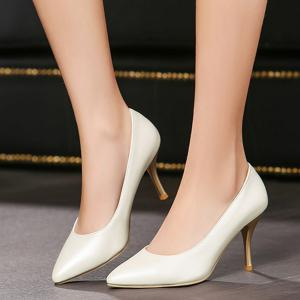 Pointed Toe PU Leather Pumps -