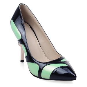Colour Block Strange Heel Patent Leather Pumps