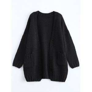 Open Front Pockets Ribbed Cardigan