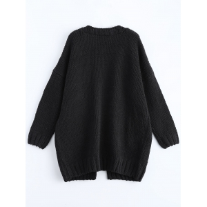 Open Front Pockets Ribbed Cardigan - BLACK ONE SIZE