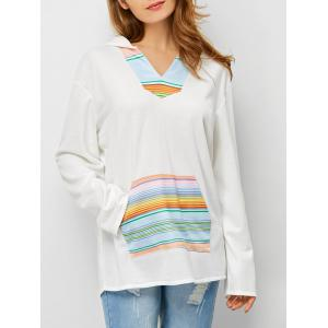 Drop Shoulder Striped Kangaroo Pocket Hoodie