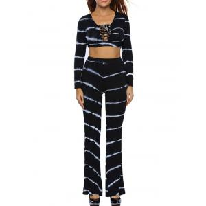 Tie Dye Bootcut Pants and Lace Up Crop Top - Black - S