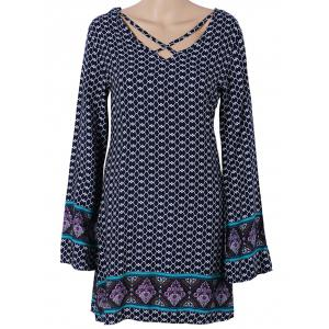 Long Sleeve Paisley Printed Boho Mini Dress - Purplish Blue - S