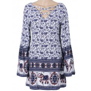 Bohemian Floral Criss Cross Tunic Dress - White - S