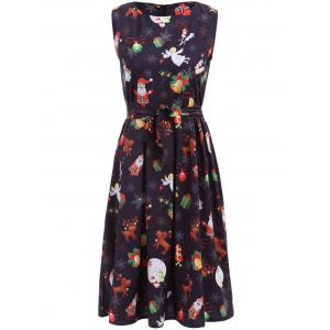 Christmas Gifts Graphic Pleated Sleeveless Dress - Black - Xl