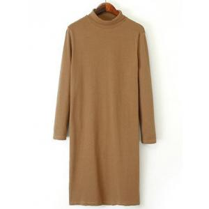 Long Sleeve Turtleneck Knee Length Shift Dress