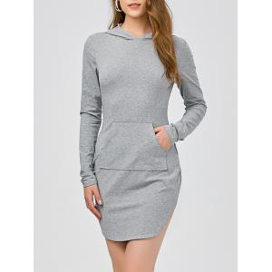 Long Sleeve Kangaroo Pocket Mini Hoodie Dress