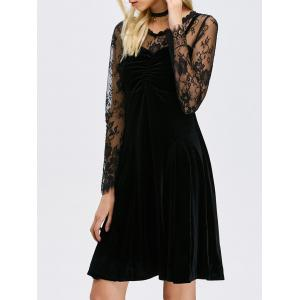 Lace Sheer Sleeve Velvet A Line Dress