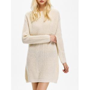 Long Sleeve Textured Mini Jumper Cream Dress