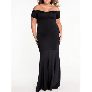 Plus Size Off Shoulder Prom Mermaid Formal Dress - Black - 3xl