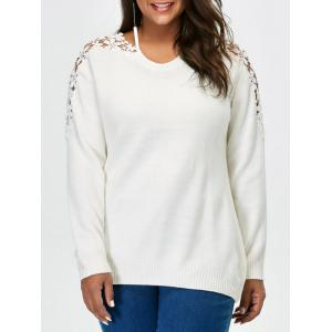 Plus Size Lace Panel Sweater - White - 4xl