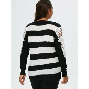 Plus Size Lace Panel Striped Sweater - BLACK 5XL