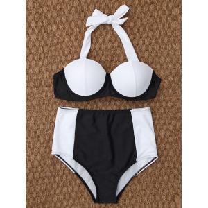 High Waisted Underwire Bikini - White And Black - M