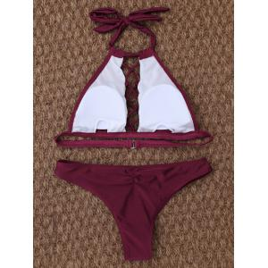 Cut Out High Neck Halter Bikini - BURGUNDY L