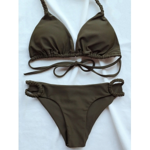 Braided Halter Plunge Bikini - Army Green - S